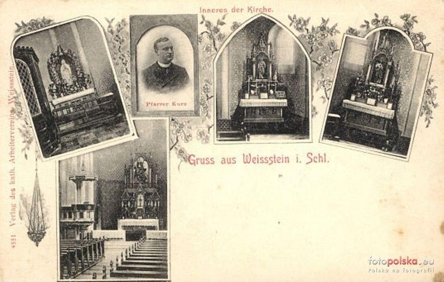 Kościół i jego wnętrze na początku XX wieku